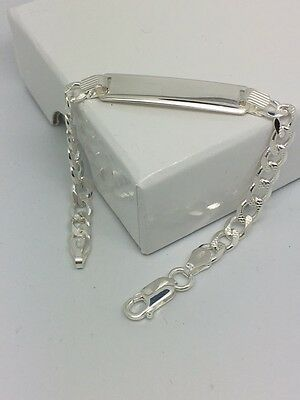 BABY Curb chain ID Bracelet SOLID Sterling Silver **FREE ENGRAVING** Christening