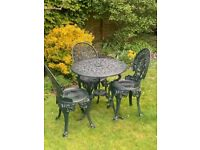 Metal garden table with 3 chairs