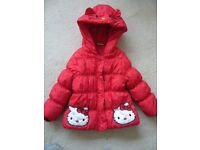 baby's toddler padded Hello Kitty red anorack / coat with hood age 18-24 months southbourne VGC