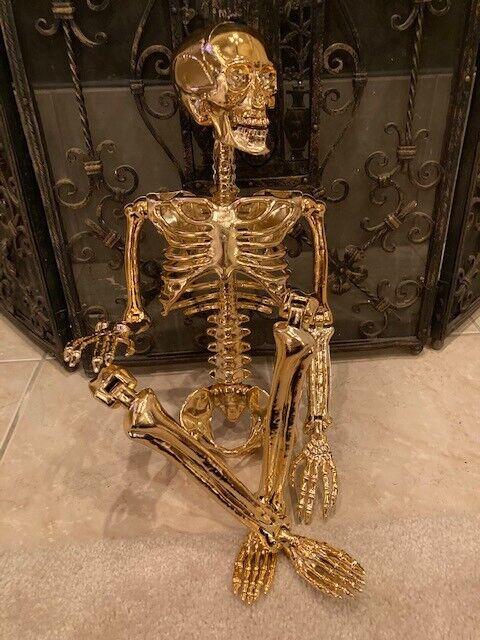 Poseable 3ft GOLD Skeleton Halloween Decoration NEW
