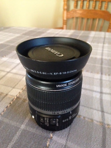 Canon EFS 18-55mm lens with hood and filter
