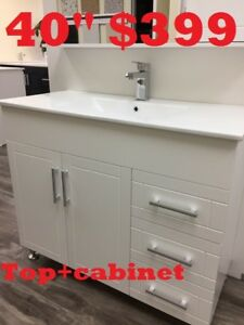 "BATHROOM VANITY40"" $399. SHOWER DOOR. SHOWER PANEL"
