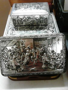 David Teniers Embossed Belgian Tin Boxes - Hinged London Ontario image 2