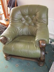 Leather 3 piece suite on wooden frame