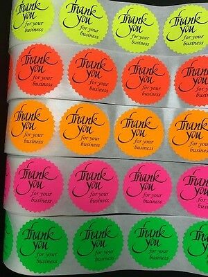 250 Thank You For Your Business Neon Labels Stickers Starburst Fluorescent 2
