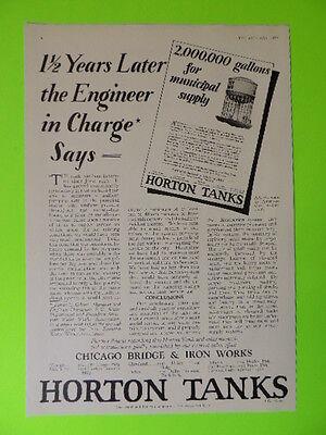 1928 Chicago Bridge   Iron Works   Horton Water Tanks   Sales Art Ad