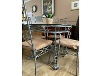 Wrought iron glass dining table and 4 chairs set