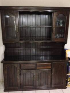 Dark Wall nut Stained Kitchen Buffet with Hutch Taigum Brisbane North East Preview