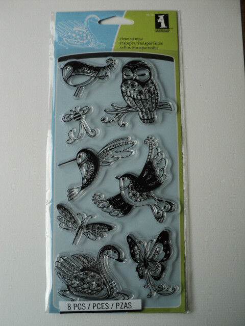 INKADINKADO CLEAR STAMPS - PATTERNED BIRDS AND BUGS BNIP *LOOK*
