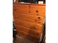 Pine chest 5 drawers