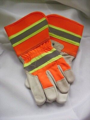 1 - High Visibility Leather Work Gloves New Small Medium Large X-large Hi Vis
