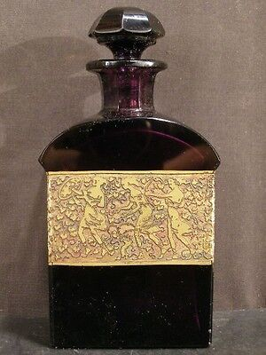 1910 Moser Karlsbad Cut Amethyst Glass OROPLASTIC Frieze Cologne Perfume Bottle~
