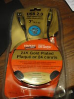 NEW staples usb a/b gold cable