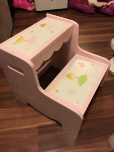 Pink Ballerina Wooden Step Stool
