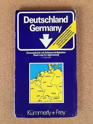 Deutschland Germany Road Map (1978, Kummerly+Frey).  Unfolds to 90x100cm.