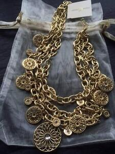 Olivia Welles - Multi Chain Link Bib Necklace - Gold Plated Ferryden Park Port Adelaide Area Preview
