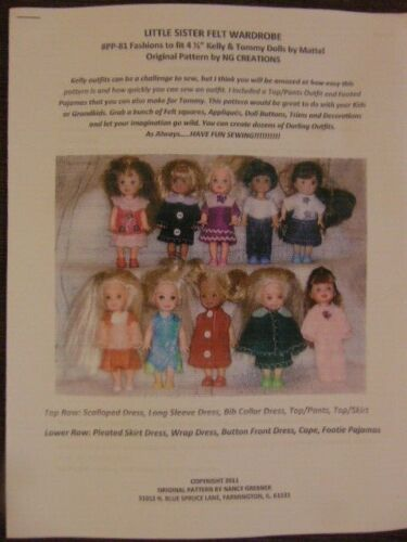 NG Creations Little Sister Felt Pattern #PP-81 fits Kelly & Tommy Dolls Barbie