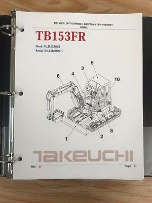 Takeuchi Tb153fr Parts Manual Sn 15830001 Free Priority Shipping