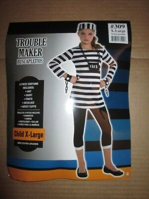 Girls TROUBLE MAKER INMATE PRISNER Halloween costume sz XL - Halloween Costume Maker