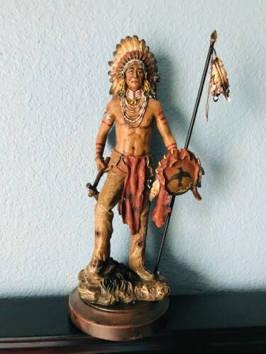 """14"""" Tall Indian Native American Chief With Headdress Resin Figurine Statue"""