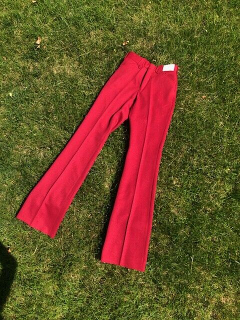 70s Deadstock Cowboy Western Rancher Flare Pants 29in Waist Red