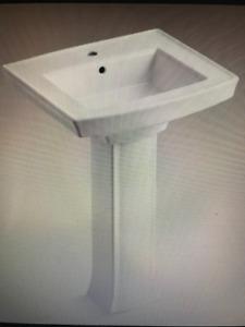 Bathroom sink: Kohler Archer Pedestal Sink (white)