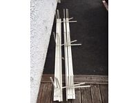 8 Blacksmith-made wrought iron poles with prongs. Could be used as wall-mounted supports in garage.