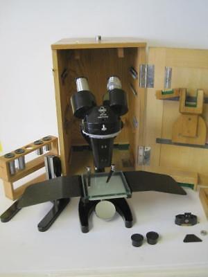 Rare Binocular Adjustable Hachiyo Laboratory Lab Microscope Wcase Eyepieces