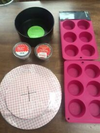 """Baking items: Muffin tins, muffin cases, 8"""" cake tin and cake stand. Collect Fulham"""