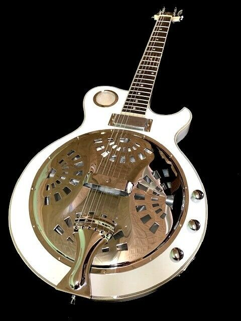 NEW WHITE 6 STRING ACOUSTIC ELECTRIC SLIDE RESONATOR BLUES GUITAR GREAT PLAYING