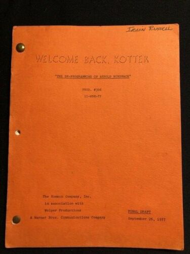 1975 WELCOME BACK KOTTER TV SCRIPT
