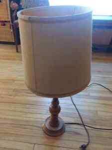 Tall wooden table lamp with shade