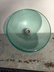 Modern Glass round sink for counter top with mixer Tap