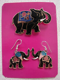 NEW Enamel Elephant Brooch & Earrings