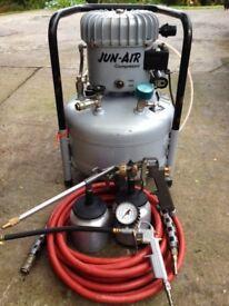Jun Air 6-25 Compressor c/w heavy duty hose, spray attachments & tyre inflator