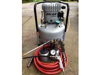 Jun Air 6-25 Compressor c/w heavy duty hose, spray attachments & tyre inflator