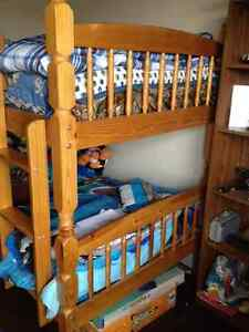 Single over single wooden bunk beds