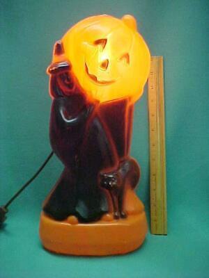 "Vintage General Foam Plastics Halloween Pumpkin Witch Black Cat Blow Mold 14"""