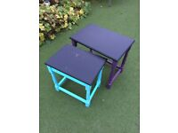 Tables - Nest of Two Small Tables - Vintage Upcycled with Chalkboard Tops