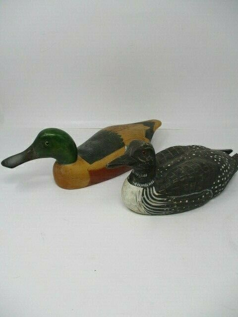 2 Vintage Wooden Hand Painted Duck Decoys