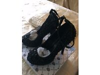 LYDC Sparkle/crystal platform shoes with 5' heels in black Size 5 BOXED NEW