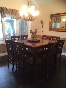 Dark Red/Brown Dining Room Suite (Raised Square Table, 8 Chairs)