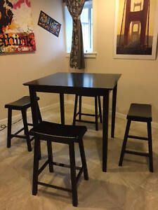 High Bar Table with stools and wine rack