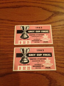1963 Grey Cup Tickets - Hamilton Champions!
