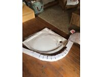 Quadrant Shower Tray with Waste and Upstand Kit