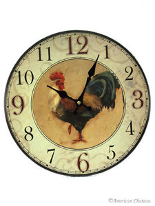 NEW Rooster Wall Clock FARM French Country Kitchen Decor Rise and Shine
