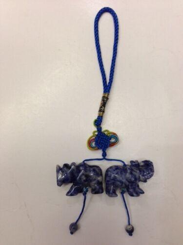 FENG SHUI BLUE SODALITE RHINOCEROS & AND ELEPHANT AMULET KEYCHAIN SET