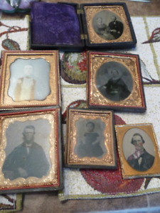 Lovely Collection Of 6 Antique Tin Types In Elaborate Frames