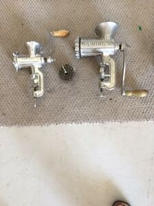 2 Manual Heavy Duty Cast Iron Meat Grinders for sale