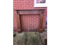 Fire Surround Set- Oak Fire Surround with Grey Stone Hearth & Back Panel